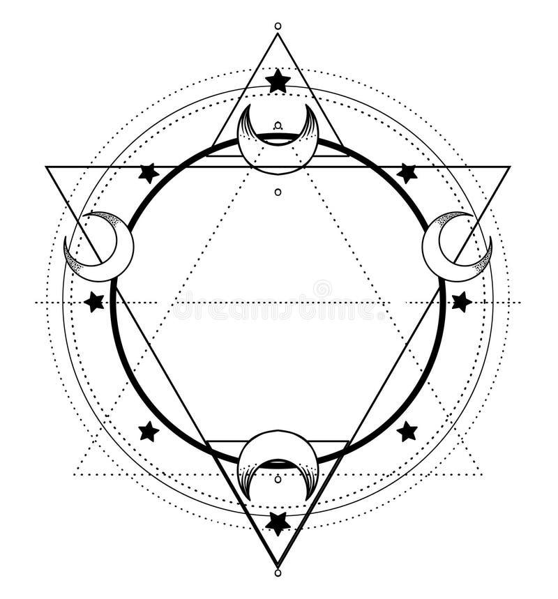 Maankader Heilige Meetkunde Ayurvedasymbool van harmonie en bala vector illustratie