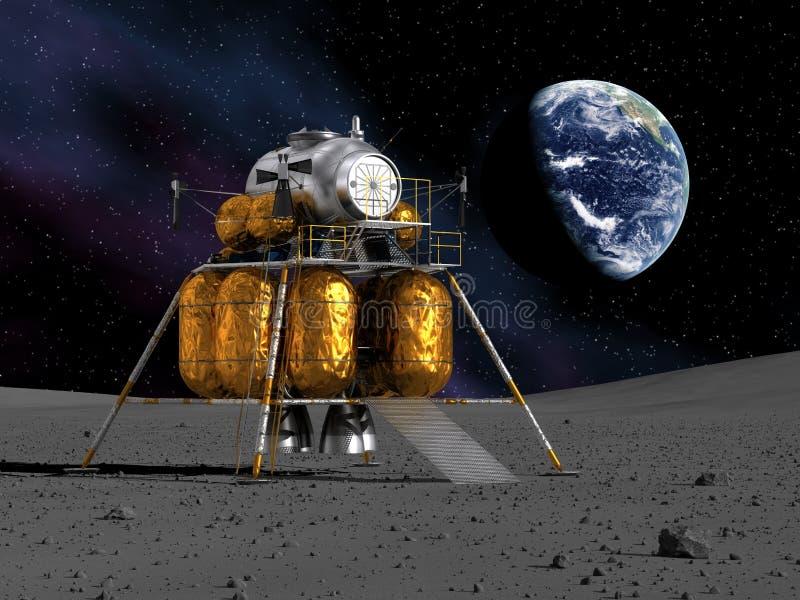 Maanlander op de Maan royalty-vrije illustratie