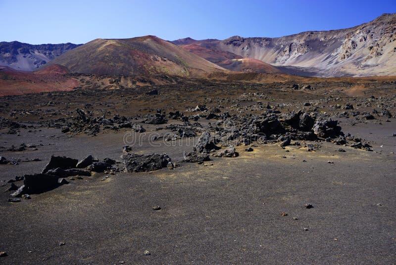 Maanlandschap in het nationale park van Haleakala in Hawaï stock afbeelding