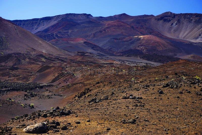 Maanlandschap in het nationale park van Haleakala in Hawaï royalty-vrije stock afbeeldingen