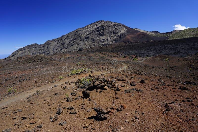 Maanlandschap in het nationale park van Haleakala in Hawa? royalty-vrije stock fotografie