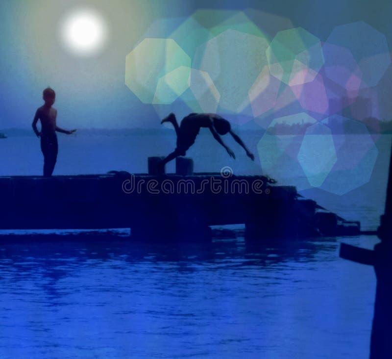Maanlicht het zwemmen stock afbeeldingen