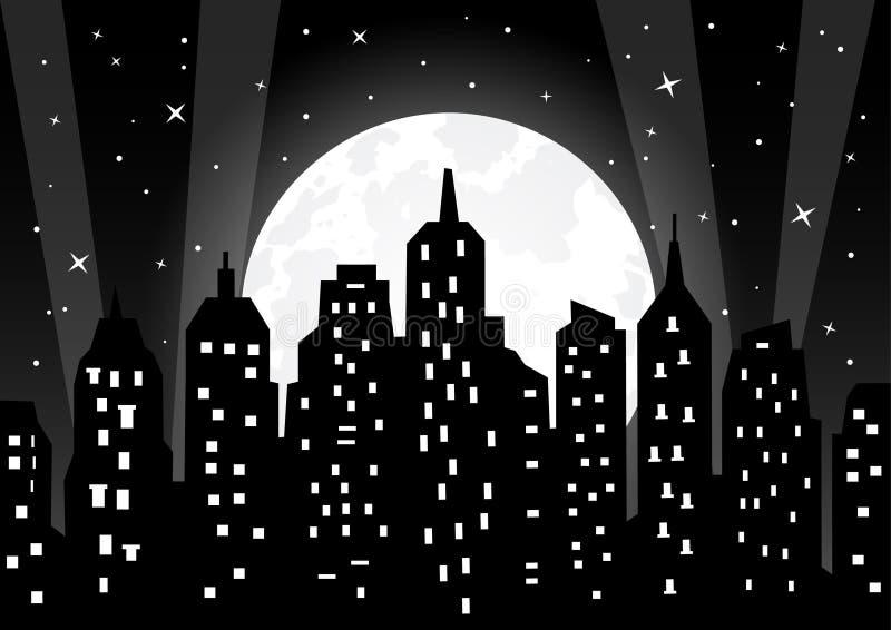 Maanlicht over nachtstad stock illustratie