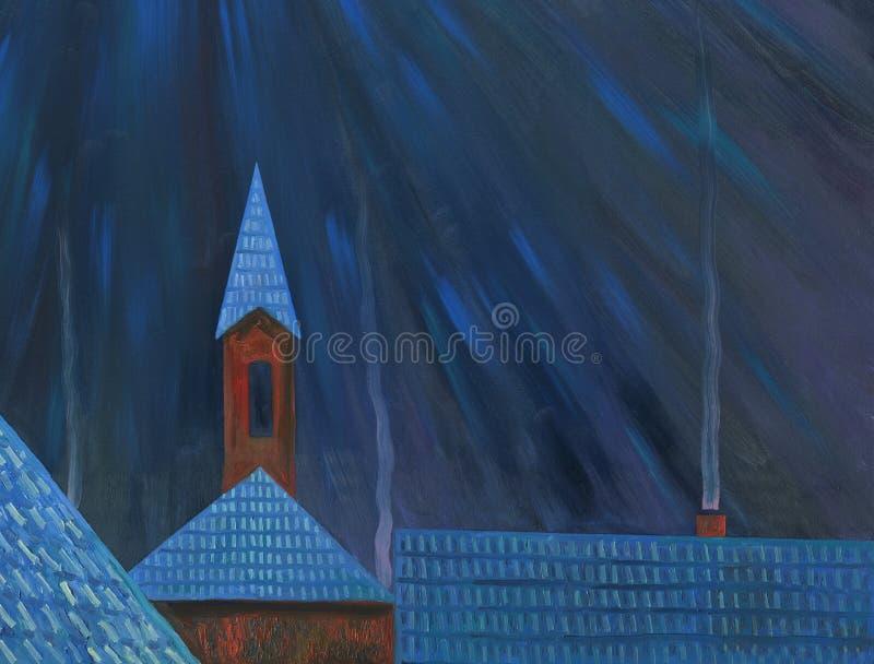 Maanlichtnacht over het dorp Landschap met rivier en bos royalty-vrije illustratie