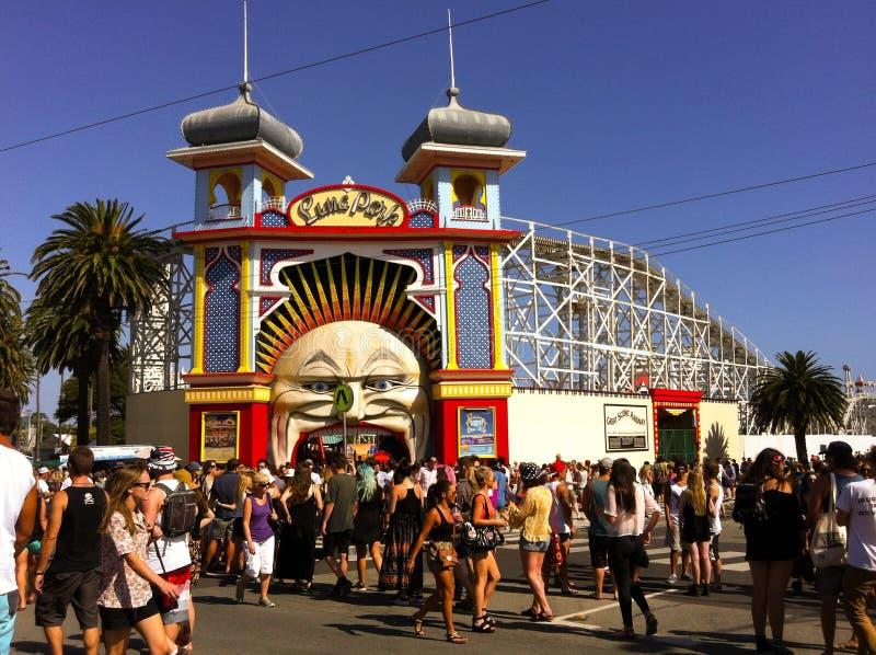 Maanpark bij St Kilda Festival in Melbourne stock fotografie