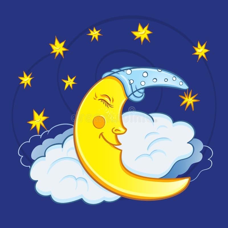 Maanslaap op een wolk met sterren in de nachthemel Leuke beeldverhaalmaan stock illustratie