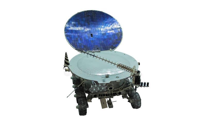 Maanzwerver op witte achtergrond wordt geïsoleerd die Maanvervoer stock fotografie