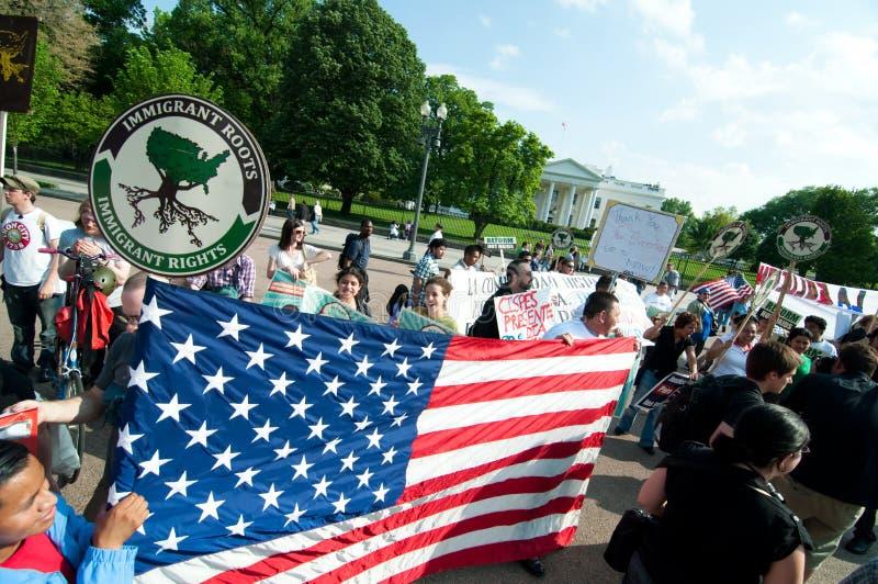 Maart aan Witte Huis voor ImmigrantenRechten & Hervorming stock foto