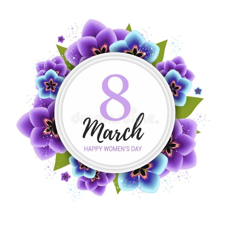 8 maart-achtergrond met violette tulpenbloemen Van de de dag bloemenkaart van gelukkige vrouwen het ontwerp vectorillustratie stock illustratie