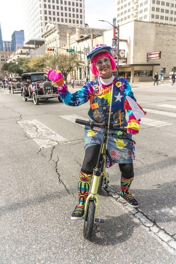 3 MAART, 2018 - AUSTIN TEXAS - Texans viert Texas Independence Day Parade op Congresweg Ster, Mexico stock fotografie