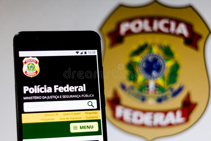 10 maart, 2019, Brazilië Homepage van stock afbeeldingen