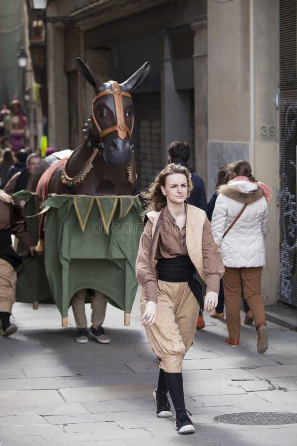 22 maart, 2015 Castellersfestival in Barcelona (Spanje) royalty-vrije stock afbeeldingen
