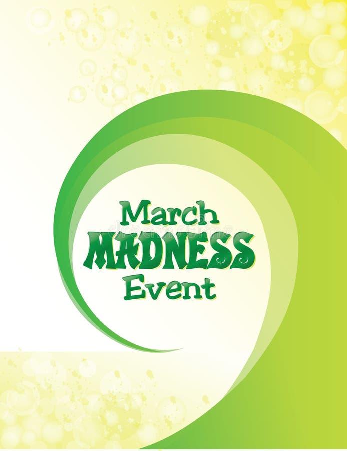 Maart-de Affiche van de Waanzingebeurtenis met Groene Werveling vector illustratie