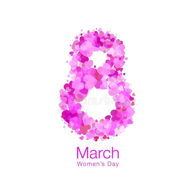 8 maart - de Dag licht ontwerp van Vrouwen van het malplaatje van de groetkaart Symbool van Internationale Vrouwen` s dag Vector  vector illustratie
