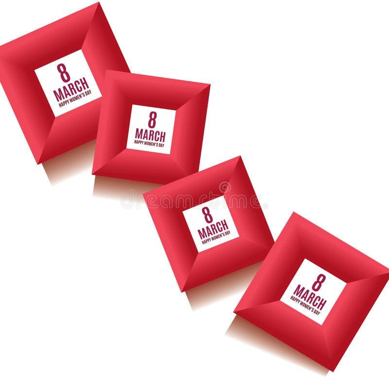 8 Maart-de dag van achtergrond vrouwen malplaatje in rode kleuren Greetengkaart, uitnodiging en bonmalplaatje Vector illustratie vector illustratie