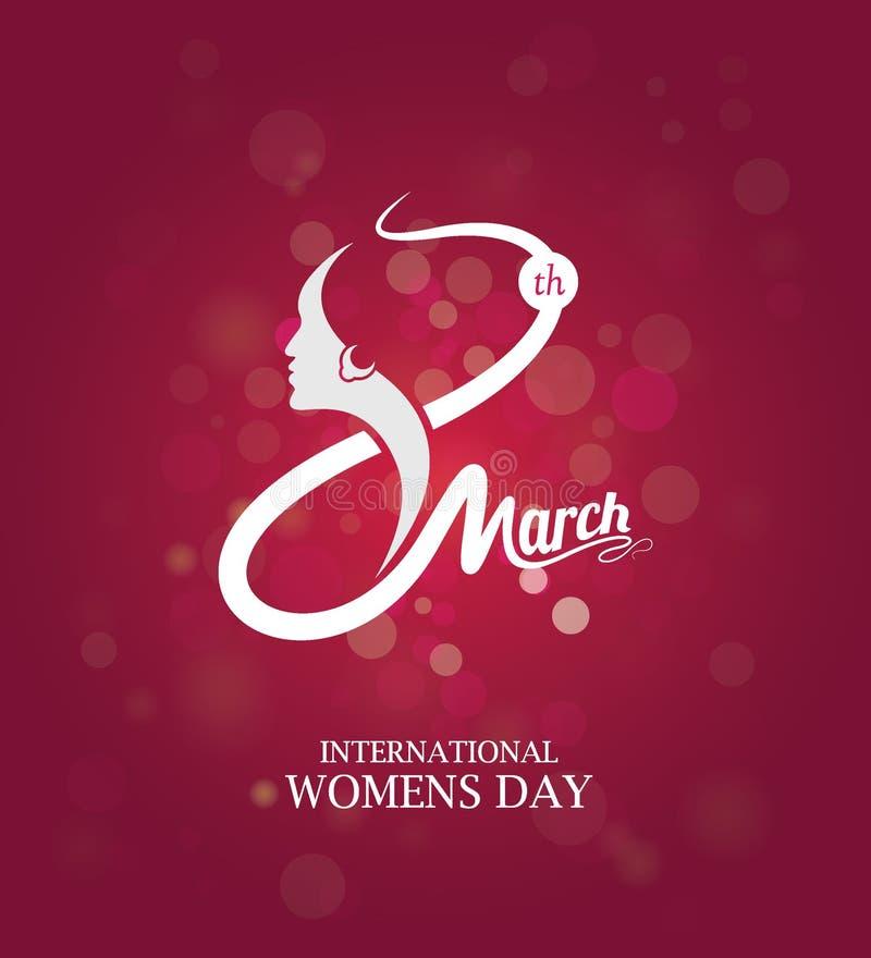 8 Maart-de Dagmalplaatje van Vrouwen stock illustratie