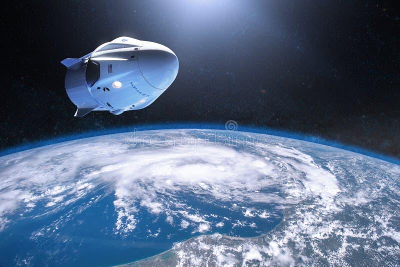 03 maart, 2019: De Draakruimtevaartuig van de SpaceXbemanning in laag-aardebaan Elementen van dit die beeld door NASA wordt gelev stock illustratie