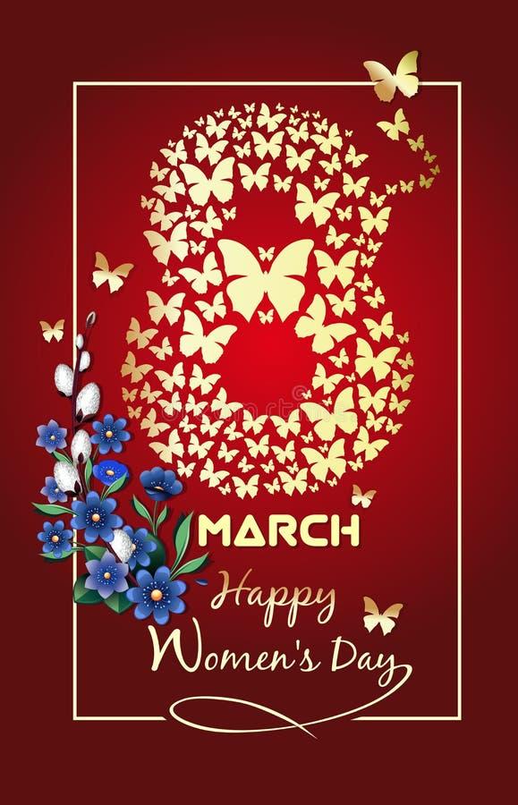 8 maart De internationale Achtergrond van de Vrouwen` s Dag stock illustratie