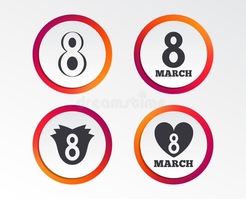 8 Maart-de pictogrammen van de Vrouwen` s Dag Bloem, hartsymbolen stock illustratie