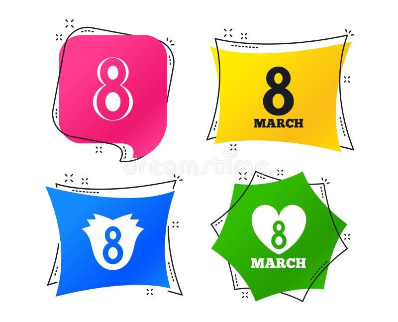 8 Maart-de pictogrammen van de Vrouwen` s Dag Bloem, hartsymbolen Vector stock illustratie