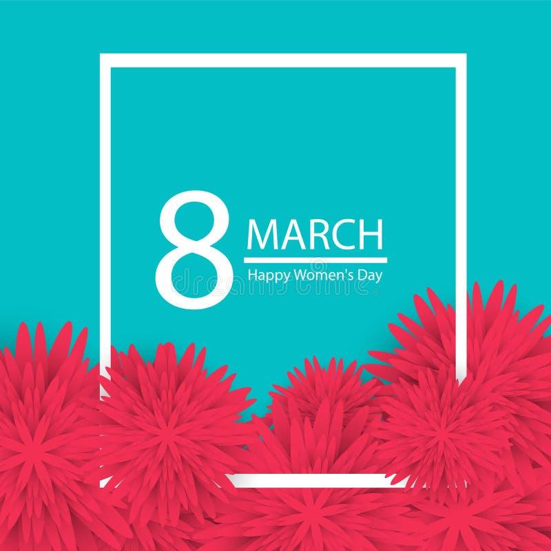 8 Maart-de vakantieachtergrond met document sneed Kaderbloemen Gelukkige moeder`s dag Trendy malplaatje van het Ontwerp Vector il stock illustratie