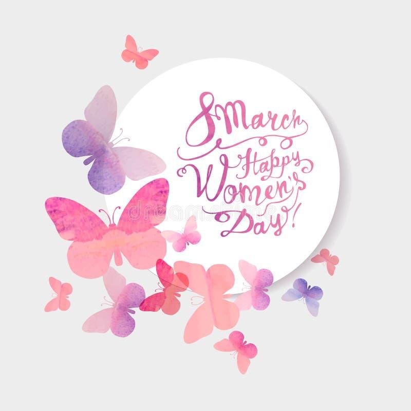 8 Maart Gelukkige Vrouwen` s Dag! Roze waterverfvlinders vector illustratie