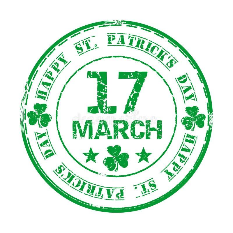 17 maart Groene grunge rubberzegel met klaver en de tekst Gelukkige St Patricks Dag stock illustratie