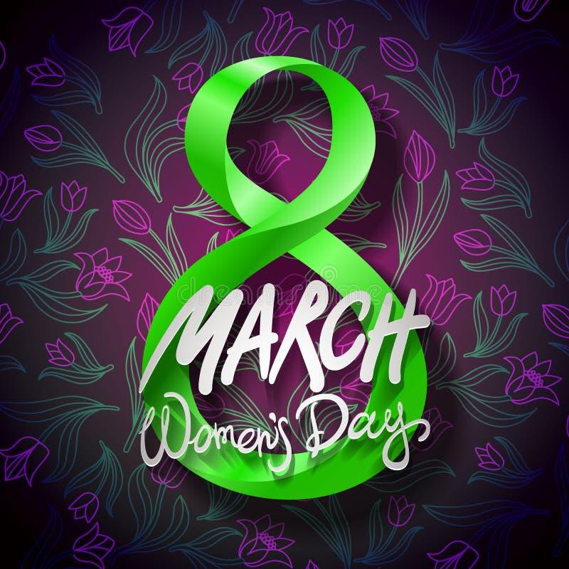 8 maart groetkaart De dag van de internationale vrouw Vector Zwarte achtergrond vector illustratie