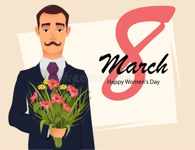8 Maart-groetkaart De groetkaart van de vrouwen` s Dag Knappe heer in kostuum met het boeket van de snorholding van wildflowers royalty-vrije illustratie