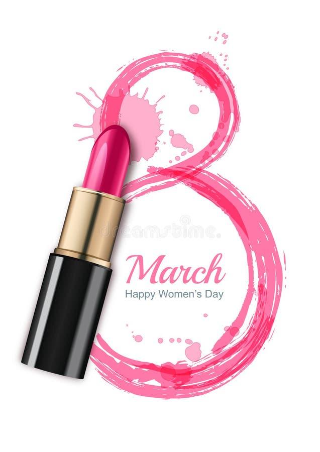 8 Maart-groetkaart, Internationale Vrouwen` s Dag Roze lippenstift en waterverf nummer acht stock illustratie