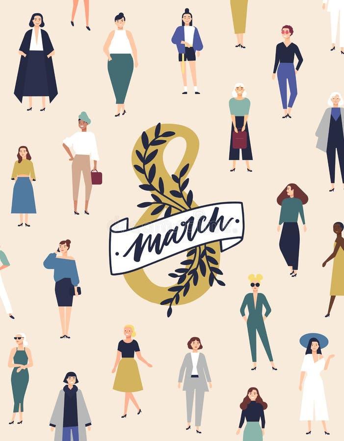 8 Maart-groetkaart, vlieger of affichemalplaatje met menigte van gelukkige glimlachende jonge en oude vrouwelijke karakters siste stock illustratie
