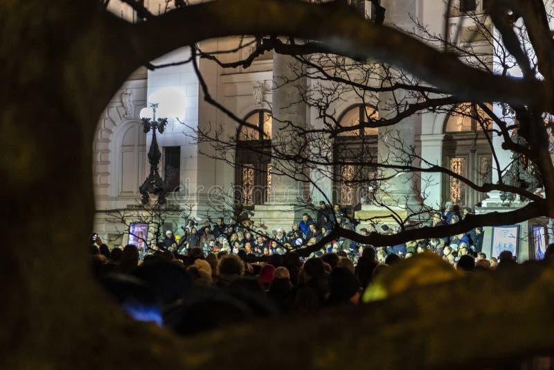 Maart in Herdenking van Moord Burgemeester Adamowicz In Warsaw stock foto's