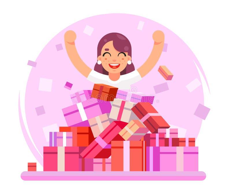 8 maart-het meisje van de Vrouwenvakantie gelukkige leuke het winkelen stapel van van het de dozen vlakke ontwerp van goederengif royalty-vrije illustratie