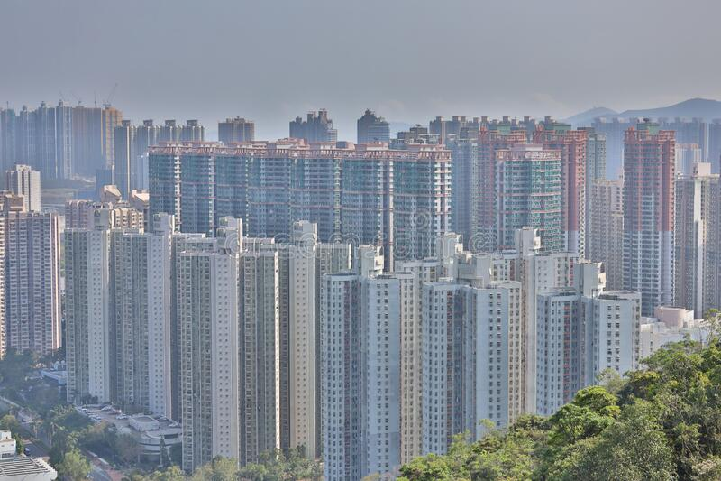 22 maart 2020 het Openbaar Huis in Hong Kong bij TKO stock fotografie