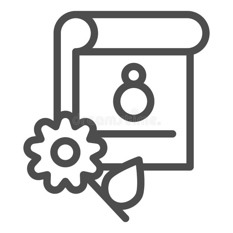 8 Maart-het pictogram van de kalenderlijn De vectordieillustratie van de vakantiedatum op wit wordt geïsoleerd De stijlontwerp va stock illustratie