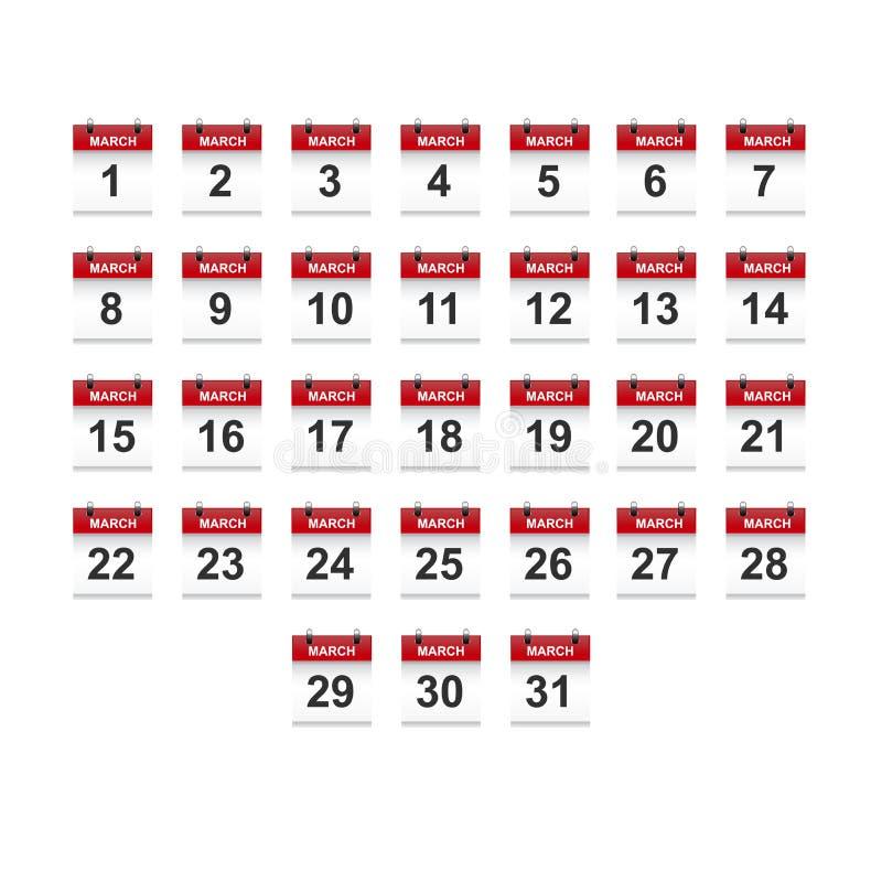 Maart-het vectorart. van de kalender 1-31 illustratie vector illustratie