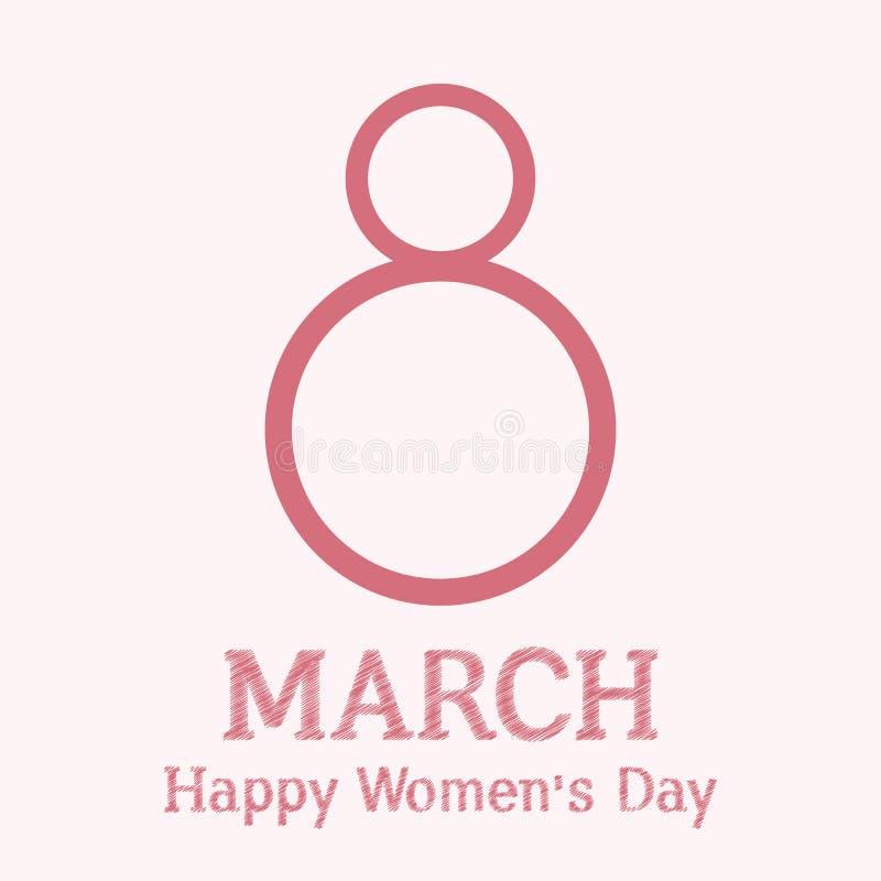 8 maart Internationale Vrouwen` s Dag royalty-vrije illustratie