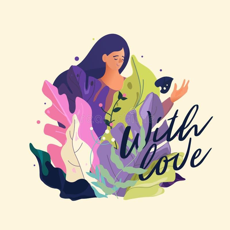 8 Maart Internationale Vrouwen` s Dag Gelukkige Vrouwen` s Dag De lentevlieger met bloemen, exotische bladeren en het van letters vector illustratie