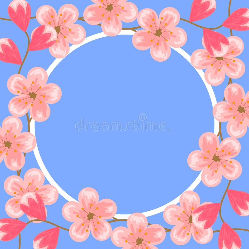 8 maart Internationale vrouwendag Cherry Blossoms Roze bloemen Ontwerpsjabloon voor groetkaarten, banners, affiches stock illustratie