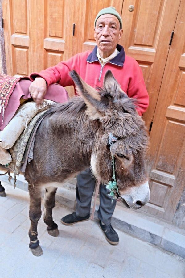 12 maart, 2019 Marokko, Casablanca: Een ingezetene van de stad met zijn uitgeruste ezel in een smalle bazaarstraat royalty-vrije stock afbeeldingen