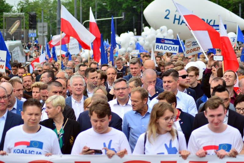 Maart ?Polen in Europa ? Donald Tusk de Voorzitter van de Europese Raad royalty-vrije stock foto