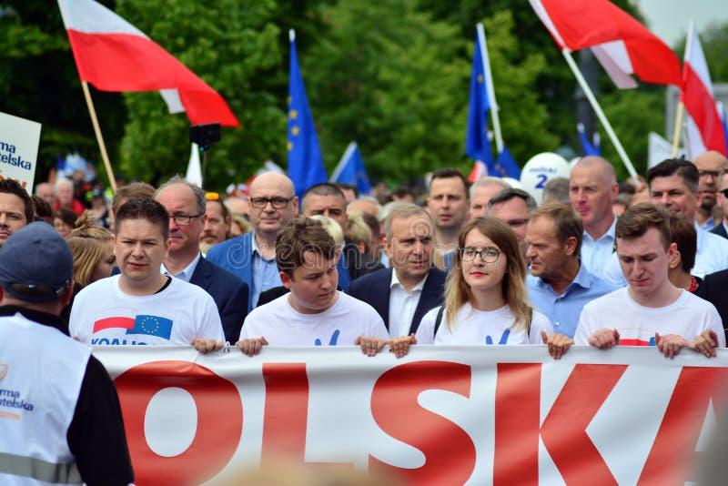 Maart ?Polen in Europa ? Donald Tusk de Voorzitter van de Europese Raad royalty-vrije stock afbeelding