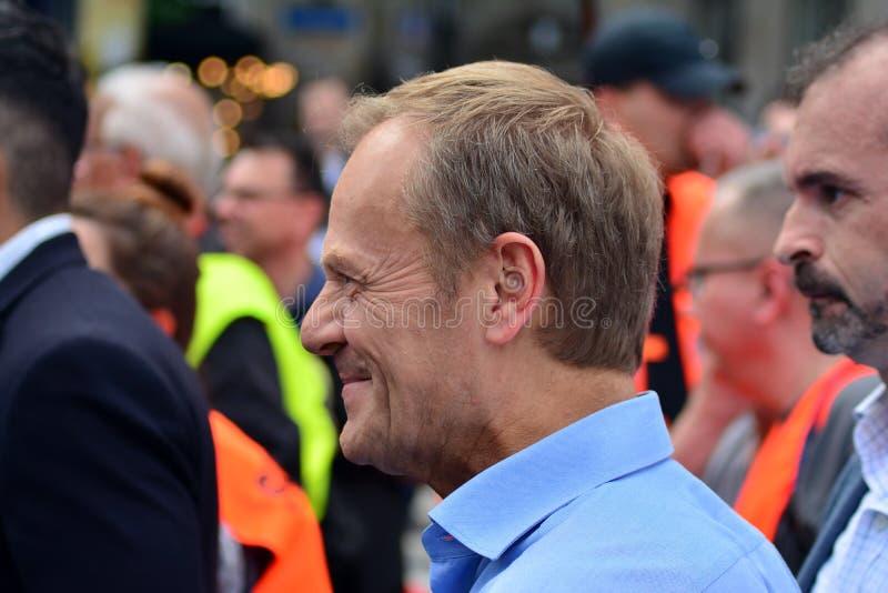 Maart ?Polen in Europa ? Donald Tusk de Voorzitter van de Europese Raad stock foto