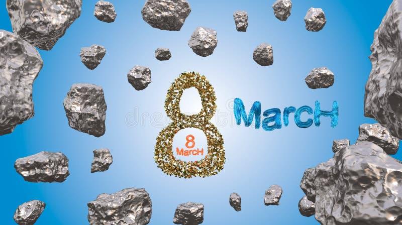 8 Maart-symbool Cijfer van acht van blauw stadsblokken of bont wordt gemaakt die in de lucht met gouden harten vliegen dat Kan al vector illustratie