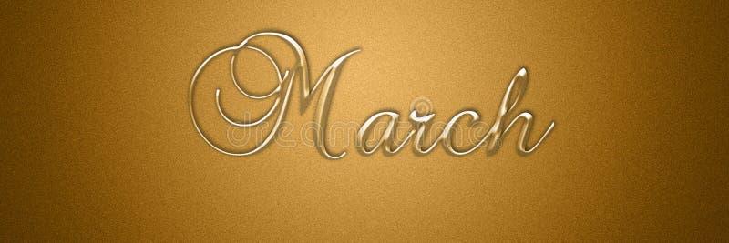 Maart-teksttitel voor maand achtergrondontwerp royalty-vrije illustratie