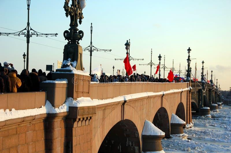 Maart van Vrijheid in St. Petersburg stock fotografie
