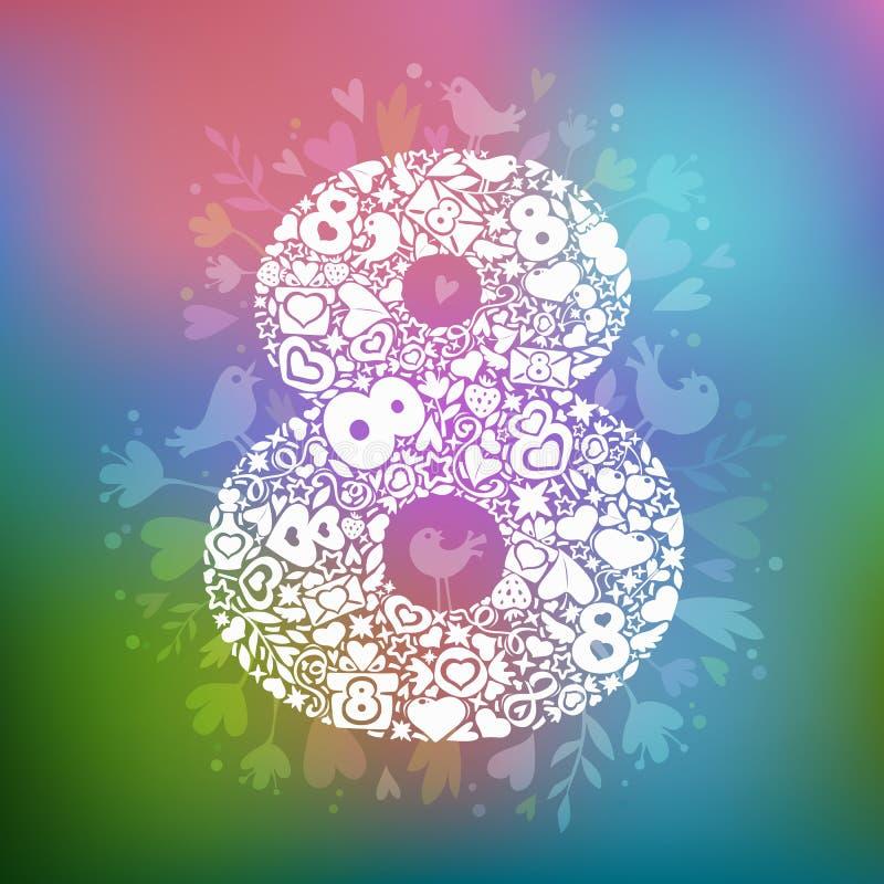 Maart 8 witte voorwerpen op een veelkleurige achtergrond stock illustratie
