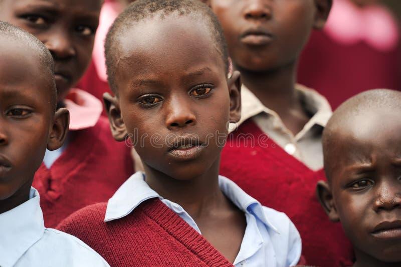 Maasai孩子在肯尼亚 免版税库存图片