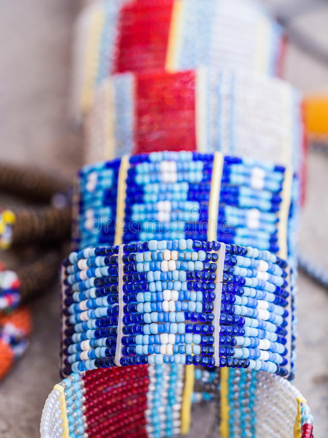 Maasai jewelry. Maasai baracelet and other jewelry sold as souvenirs in Arusha Region, Tanzania, Africa stock image