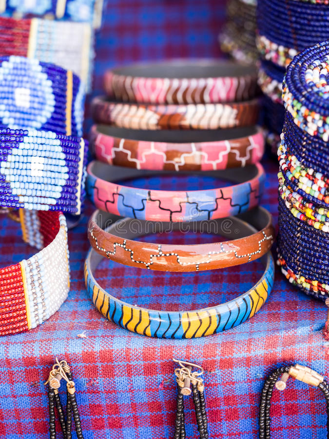 Maasai jewelry. Maasai baracelet and other jewelry sold as souvenirs in Arusha Region, Tanzania, Africa royalty free stock image